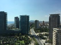 powietrznego Barcelona miasta halny linia horyzontu tibidabo w kierunku widok Zdjęcia Stock