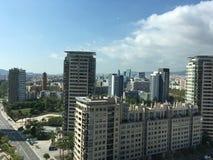 powietrznego Barcelona miasta halny linia horyzontu tibidabo w kierunku widok Fotografia Stock