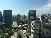 powietrznego Barcelona miasta halny linia horyzontu tibidabo w kierunku widok Obrazy Stock