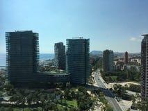 powietrznego Barcelona miasta halny linia horyzontu tibidabo w kierunku widok Obraz Royalty Free