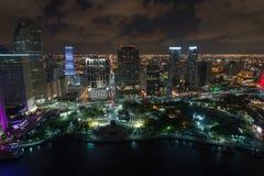 Powietrznego noc strzału Miami W centrum wizerunek zdjęcia royalty free