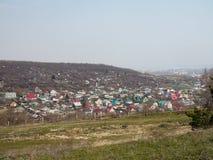Powietrznego trutnia panoramiczna fotografia malownicza wioska zdjęcia royalty free