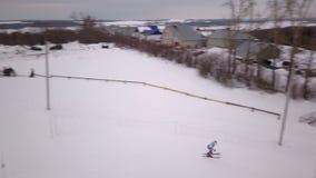 Powietrznej fotografii rywalizacje na halnym slalomu zbiory