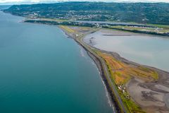 Powietrznej fotografii widok homer mierzeja w homerze Alaska, obraz royalty free