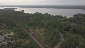 Powietrznej podróży północna wioska w Vyborg Powietrznej ankiety północ ląduje powietrznego las zdjęcie wideo