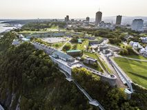 Powietrzny śmigłowcowy widok cytadela stary forteca Quebec miasta linia horyzontu w tle Zdjęcia Stock