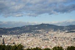 powietrzny Barcelona barceloneta pejzaż miejski colom Columbus Kolumna De Okręg passeig dobro widzieć uliczny widok fotografia royalty free