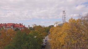 Powietrzny film nad Rumuńskim miastem zbiory