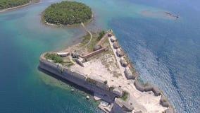 Powietrzny helikopter strzelał St Nicholas forteca - Sibenik archipelag zbiory