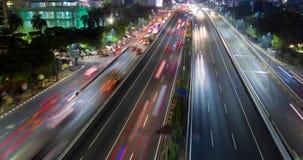 Powietrzny hyperlapse tollway z noc ruchem drogowym zbiory wideo