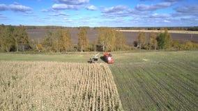 Powietrzny kukurydzany żniwiarz i ciężarówka obracamy z powrotem pracować na polu zbiory wideo