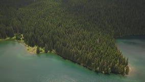 Powietrzny materiał filmowy Czarny jezioro w parku narodowym Durmitor zdjęcie wideo
