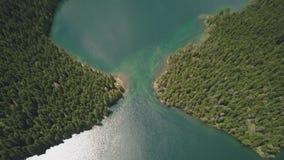 Powietrzny materiał filmowy Czarny jezioro w parku narodowym Durmitor zbiory
