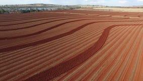 Powietrzny materiał filmowy czerwieni ziemi gospodarstwa rolnego oranie zdjęcie wideo
