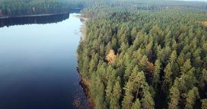Powietrzny materiał filmowy las i jezioro, Wolno ono Ślizga się Nad wierzchołkami drzewa - Markotny wideo, Północno-wschodni Euro zbiory