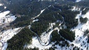 Powietrzny materiał filmowy las na śniegu zakrywał wzgórza góra, 4k zdjęcie wideo