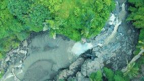 Powietrzny materiał filmowy piękny krajobraz siklawa, skały, las, halna rzeka na Bali Indonezja 4k podróży świacie zbiory