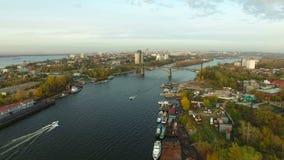 Powietrzny materiał filmowy Samara miasta doki zdjęcie wideo