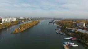 Powietrzny materiał filmowy Samara miasto i Samara rzeka zbiory wideo