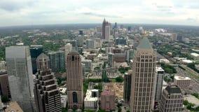 Powietrzny materiału filmowego środek miasta Atlanta linia horyzontu zbiory wideo