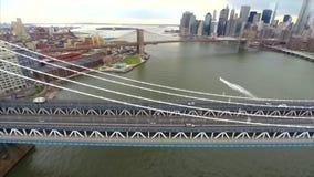 Powietrzny materiału filmowego Manhattan most zbiory