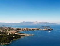 powietrzny miasta Corfu widok Obrazy Royalty Free