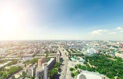 Powietrzny miasto widok miejski krajobrazu Copter strzał wizerunek panoramiczny Zdjęcie Royalty Free