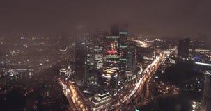 Powietrzny miasto widok przy nocą zbiory wideo
