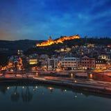 Powietrzny noc widok Stary Tbilisi obrazy royalty free