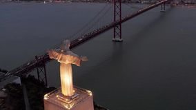Powietrzny nocy lub wieczór ptasi widok sanktuarium Chrystus królewiątko zbiory