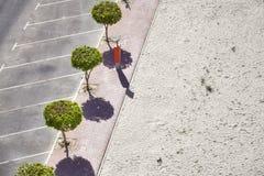 Powietrzny obrazek pusty parking plażą Zdjęcia Royalty Free