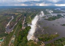 Powietrzny obrazek sławny Wiktoria Spada między zambiami i Zimbabwe zdjęcie royalty free