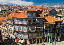 Powietrzny odgórny widok Porto Oporto miasta pomarańczowi dachy, Portugalia obraz stock