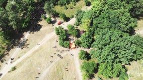Powietrzny odgórny widok zielony miasto park z grupą cykliści przygotowywa dla rasy na pogodnym letnim dniu zbiory
