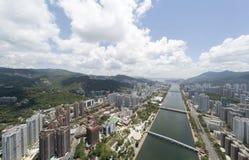 Powietrzny panarama widok na Shatin, Tai Blady, Shing Mun rzeka w Hong Kong zdjęcia royalty free