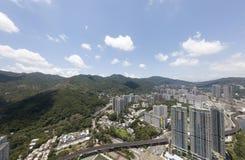 Powietrzny panarama widok na Shatin, Tai Blady, Shing Mun rzeka w Hong Kong zdjęcia stock