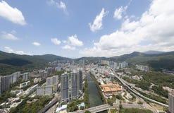 Powietrzny panarama widok na Shatin, Tai Blady, Shing Mun rzeka w Hong Kong zdjęcie stock