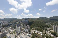 Powietrzny panarama widok na Shatin, Tai Blady, Shing Mun rzeka w Hong Kong obrazy royalty free