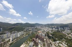 Powietrzny panarama widok na Shatin, Tai Blady, Shing Mun rzeka w Hong Kong obraz royalty free
