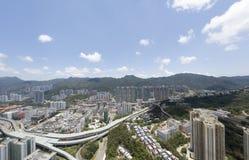 Powietrzny panarama widok na Shatin, Tai Blady, Shing Mun rzeka w Hong Kong fotografia royalty free