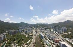 Powietrzny panarama widok na Shatin, Tai Blady, Shing Mun rzeka w Hong Kong fotografia stock