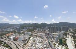 Powietrzny panarama widok na Shatin, Tai Blady, Shing Mun rzeka w Hong Kong obrazy stock
