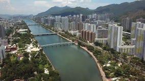 Powietrzny panarama widok na Shatin, Tai Wai, Shing Mun rzeka Przed tajfunem Mangkhut przychodzący Hong Kong zbiory