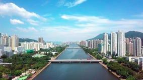 Powietrzny panarama widok na Shatin, Tai Wai, Shing Mun rzeka Przed tajfunem Mangkhut przychodzący Hong Kong zbiory wideo