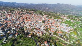 Powietrzny Pano Lefkara, Larnaka, Cypr fotografia stock