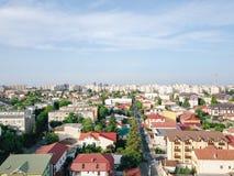 Powietrzny Panoramiczny widok Bucharest miasto zdjęcie stock
