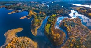 Powietrzny panoramiczny widok mgła przy jesienią, Lithuania obraz royalty free