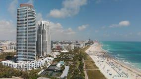 Powietrzny panoramiczny widok Miami linia brzegowa od południe i linia horyzontu Fotografia Stock