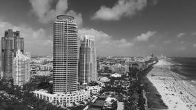 Powietrzny panoramiczny widok Miami linia brzegowa od południe i linia horyzontu Obraz Royalty Free