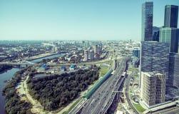 Powietrzny panoramiczny widok Moskwa Zdjęcia Stock